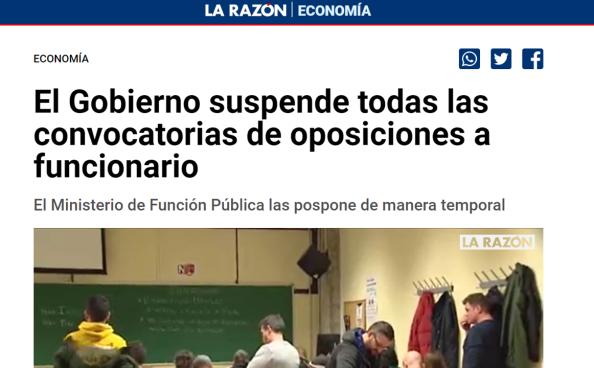 suspensión temporal oposiciones